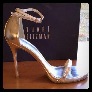 Stuart Weitzman Nudist Heels Silver Specchio $398